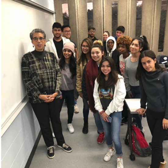 students with faculty member