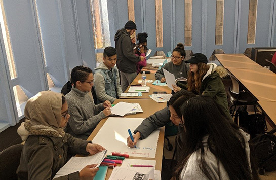 students working as groups